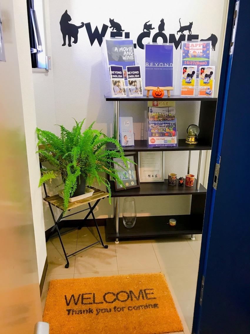 ビヨンドエントランス 植物と棚が置いてあります