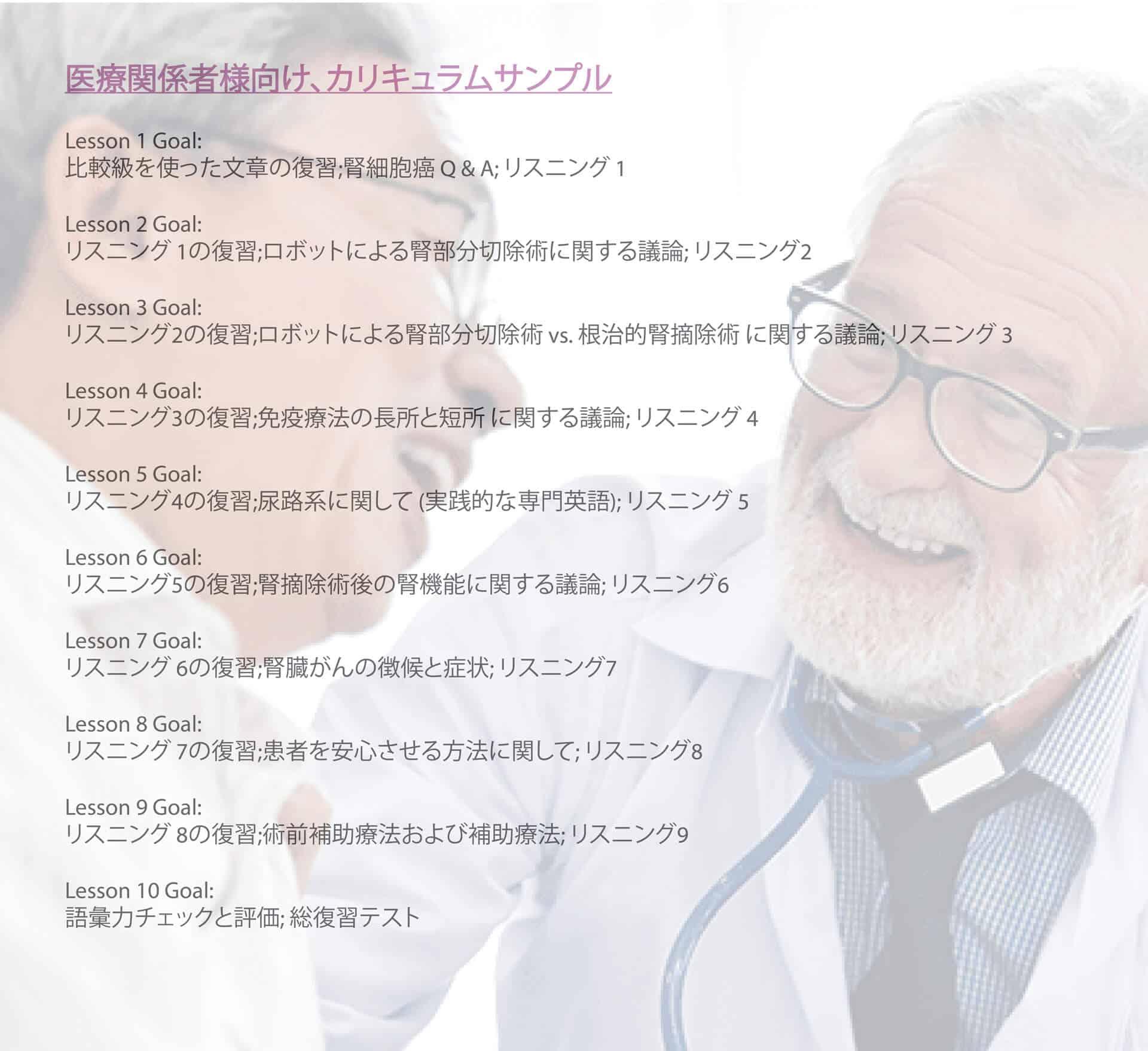 医療専門家リスニングカリキュラム