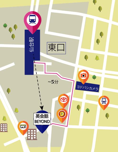 ビヨンド仙台駅から徒歩地図