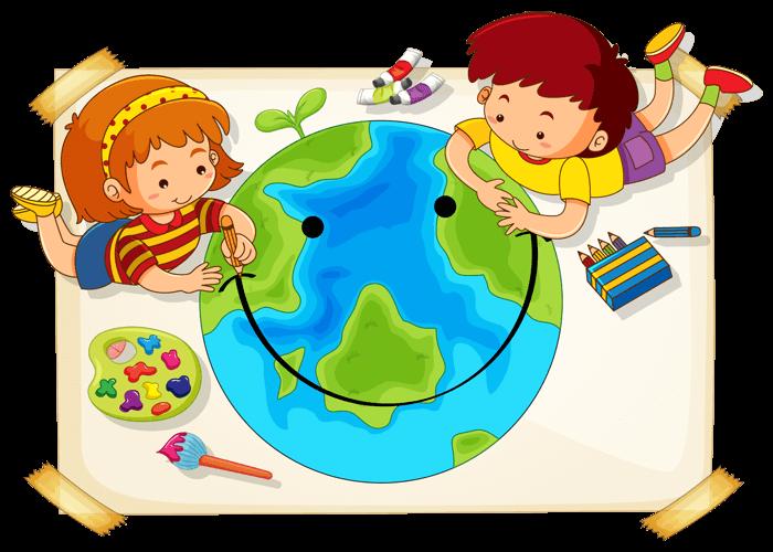 地球と子供2人が笑顔